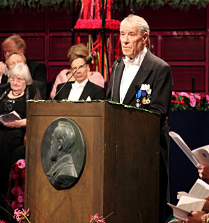 Per Wästberg delivering the Presentation Speech for the 2010 Nobel Prize in Literature