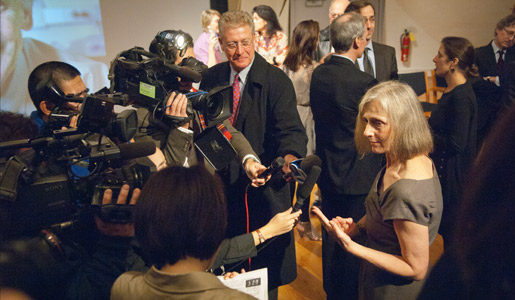 Ralph M. Steinman's wife, Claudia Steinman, speaks with reporters after the announcement of the 2011 Nobel Prize in Physiology or Medicine.
