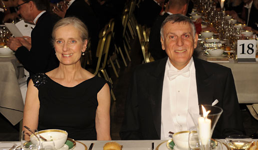 Mrs Claudia Steinman, wife of the late Medicine Laureate Ralph M. Steinman, and Chemistry Laureate Dan Shechtman at the Nobel Banquet