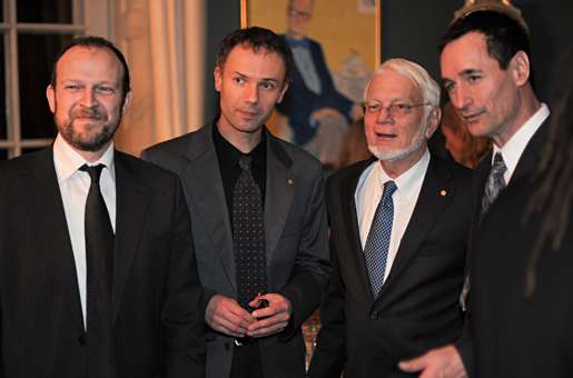 Thomas A. Steitz with colleagues during the reception at the Royal Swedish Academy of Sciences in Stockholm