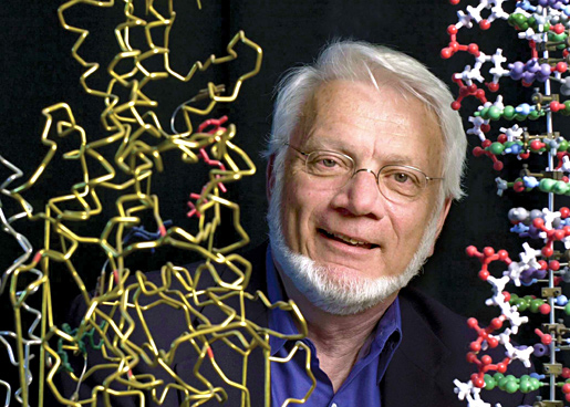 Thomas A. Steitz surrounded by models of molecular structures.