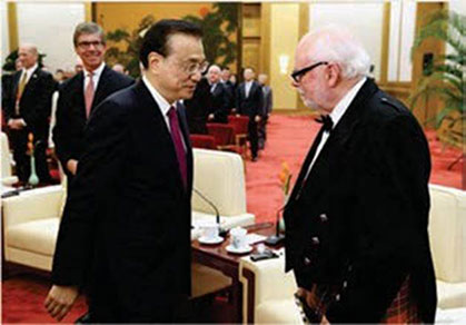Meeting Chinese Premier Li Keqiang in the Great Hall of the People.
