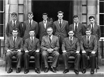 Seated to the right of Mr Richardson, the Headmaster with the other nine school prefects in 1960.