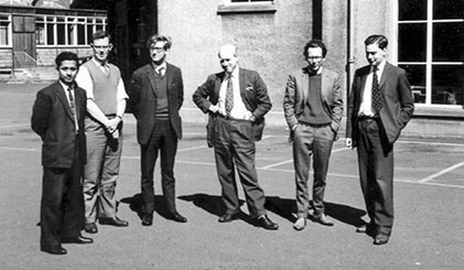 Standing on the right with Douglas Anderson and my fellow postgraduate students at Kings Buildings, University of Edinburgh.