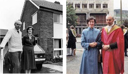 Left: With Norma outside our third Sheffield home in Bradway c. 1982. Right: After graduating from Edinburgh in 1980 with a DSc degree.