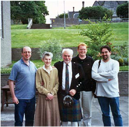 Norma and I with David Leigh, Stuart Rowan and Stuart Cantrill after the International Symposium on Macrocyclic Chemistry held at St Andrews University in July 2000.