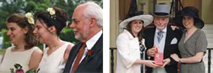Left: Three peas in a pod. With Alison and Fiona at Fiona's wedding in June 2000. Right: Outside Buckingham Palace with Alison and Fiona in June 2007 after being knighted by HM Queen Elizabeth.