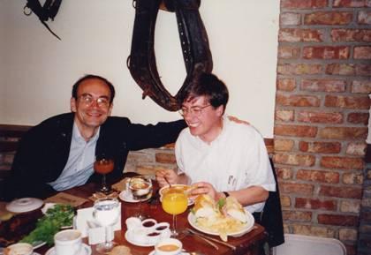 Thomas Südhof together with Reinhard Jahn at a Dallas restaurant (around 1992).