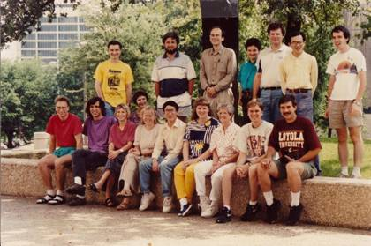 The Südhof laboratory in Dallas in 1995. Sitting in the first row left to right: Thomas Rosahl, Martin Geppert, Ewa Borowicz, Izabella Kornblum [sitting behind the row], Else Fykse, Cai Li, Andrea Roth, Shirley Clement, Christopher Newton, and Greg Mignery. Standing left to right: Konstantin Ichtechenko, Alexander Petrenko, Thomas Südhof, Beate Ullrich, Andrei Khokhlatchev, Yutaka Hata, and Harvey McMahon.
