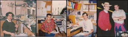 Work in the Südhof laboratory in Dallas in the 1990s. Left, Yutaka Hata at his bench; middle right, Nils Brose at his desk; middle right, Harvey McMahon getting ready to think; right, Thomas Südhof and Rafael Fernandez-Chacon after work.