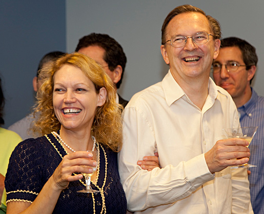 Jack W. Szostak with his wife at the celebration