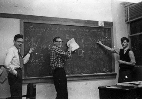 Ronald Peierls, Marvin Litvak and David Thouless, Cornell graduate students, 1958.