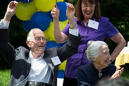 Charles Townes and his wife Frances (seated), with daughter Ellen Townes-Anderson (standing) at Townes's 99th birthday party at University of California Berkeley. Photo: Cailey Cotner