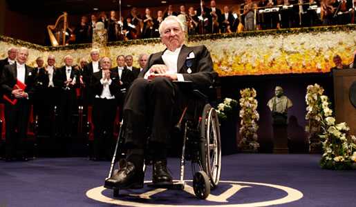Tomas Tranströmer after receiving the Nobel Medal and Diploma