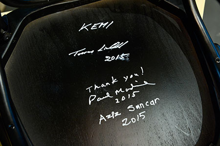 The chair signed by all 2015 Chemistry Laureates at the Nobel Museum in Stockholm, 6 December 2015.