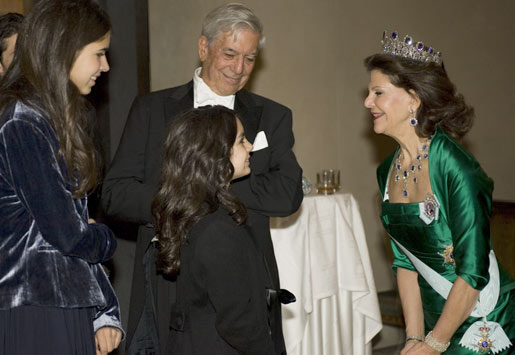 Mario Vargas Llosa and his young relatives meet Queen Silvia of Sweden after the Nobel Banquet