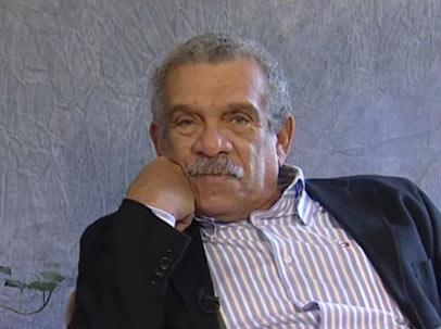 Derek Walcott during the interview.