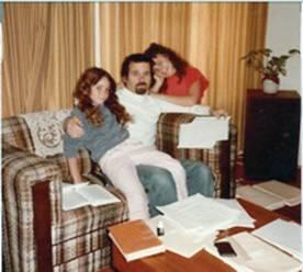 """Working"" with Yael (left) and Merav (right), around 1983."