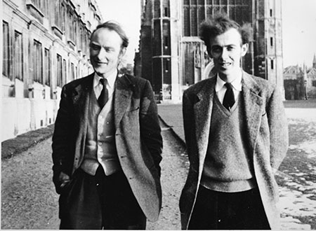 Francis Crick and James D. Watson walk along the Cambridge backs, 1953