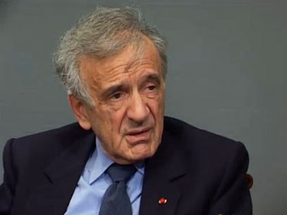 Elie Wiesel during the interview.