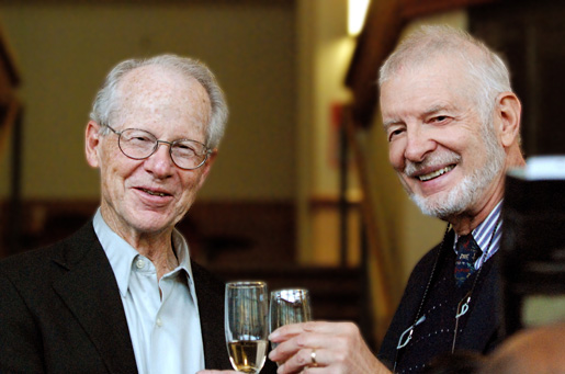 Oliver Williamson shares a toast with Daniel L. McFadden
