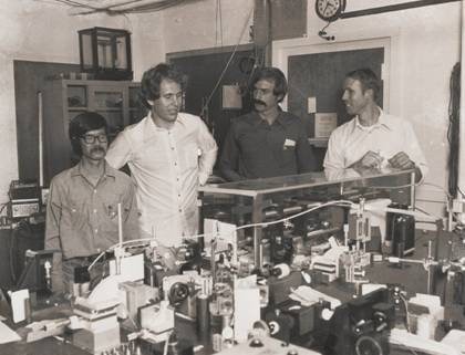 NIST trapped-ion group (1979). Left to right Wayne Itano, Jim Bergquist, Dave Wineland, Bob Drullinger.