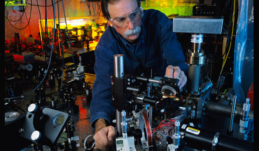 David J. Wineland in his laboratory