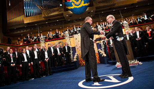 David J. Wineland receiving his Nobel Prize from His Majesty King Carl XVI Gustaf