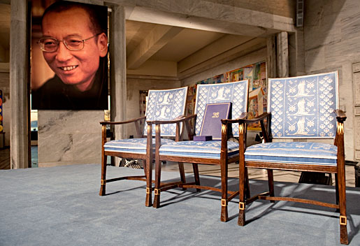 Liu Xiaobo's empty chair at the Nobel Peace Prize Award Ceremony in Oslo. Copyright The Nobel Foundation 2010. Photo: Ken Opprann