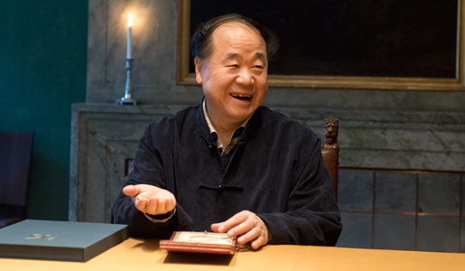 Mo Yan visits the Nobel Foundation on 12 December 2012