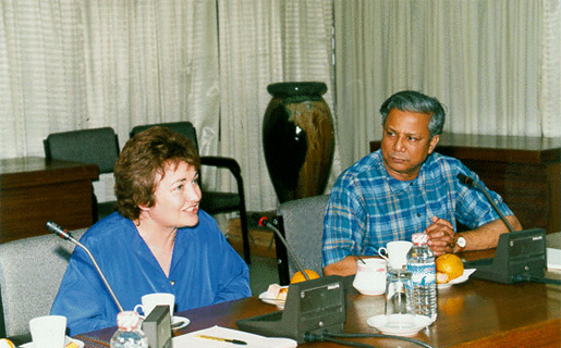 Mairead Corrigan Maguire, 1976 Nobel Peace Prize Laureate, during her visit with Professor Muhammad Yunus and Grameen Bank