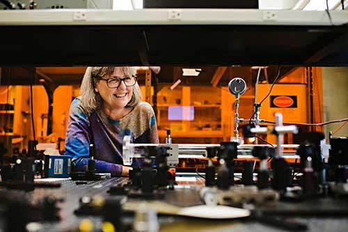 Donna Strickland in the laboratory.