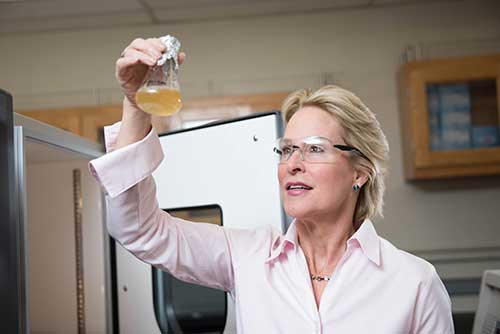 Frances Arnold in the laboratory.