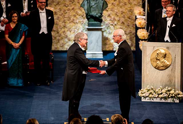 M. Stanley Whittingham receiving his Nobel Prize