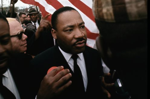 Martin Luther King Jr. marching in Selma