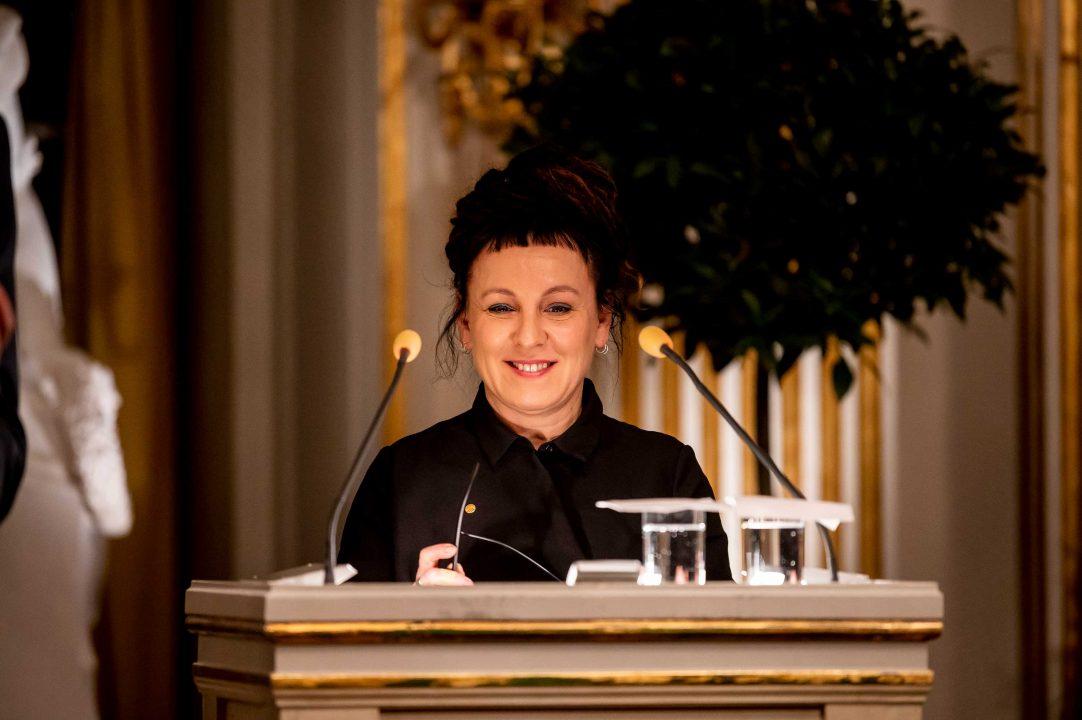 Olga Tokarczuk delivering her Nobel Lecture