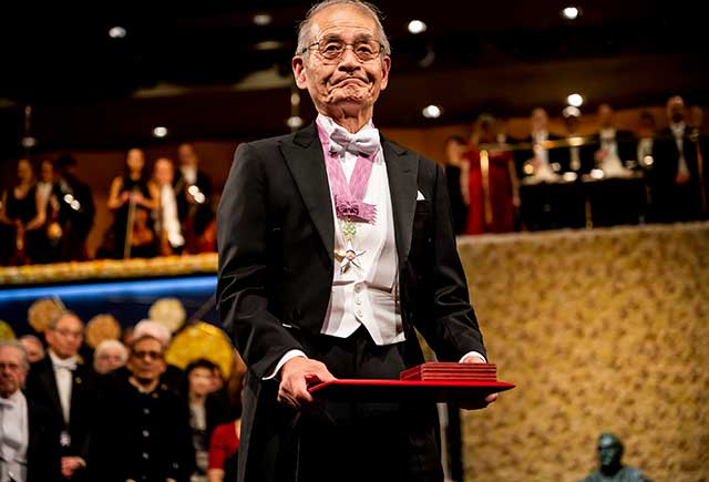 Akira Yoshino after receiving his Nobel Prize