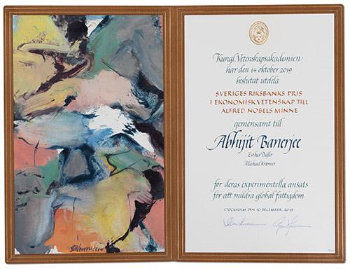Abhijit Banerjee - Nobel diploma