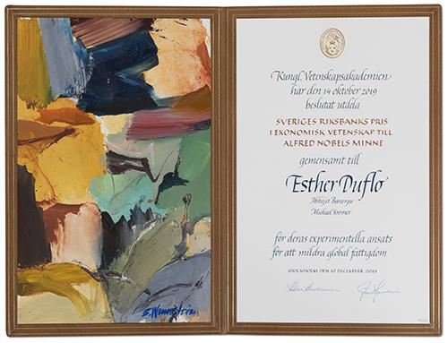 Esther Duflo - Nobel diploma