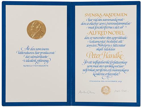 Peter Handke - Nobel diploma
