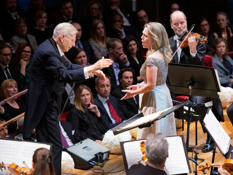 Nobel Prize Concert at Konserthuset Stockholm. Conductor Herbert Blomstedt and soprano Miah Persson together with the Royal Stockholm Philharmonic Orchestra.