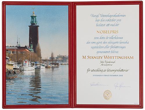 M. Stanley Whittingham - Nobel Diploma