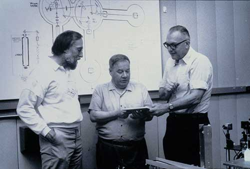 Kip Thorne, Ron Drever and Robbie Vogt in 1978.