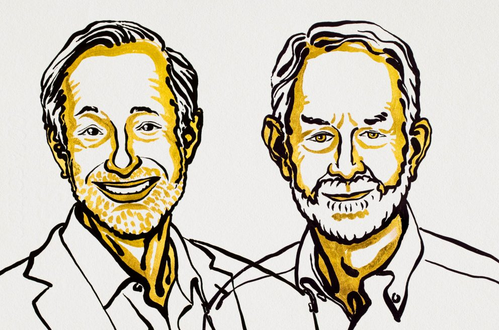 Illustration of Milgrom and Wilson from the Nobel Prize site