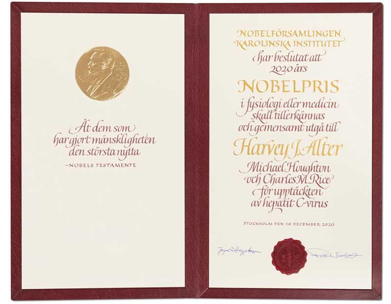 Harvey J. Alter's Nobel Diploma