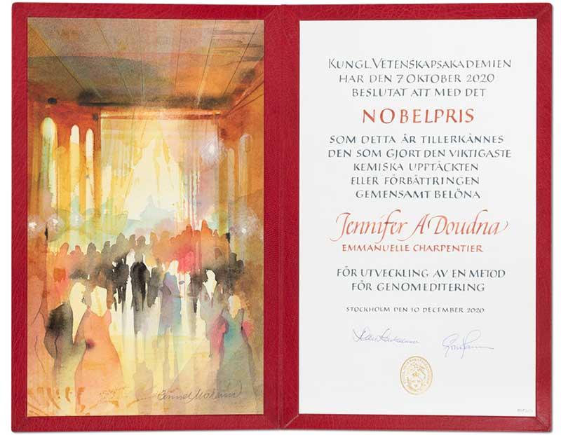 Jennifer A. Doudna's Nobel Diploma