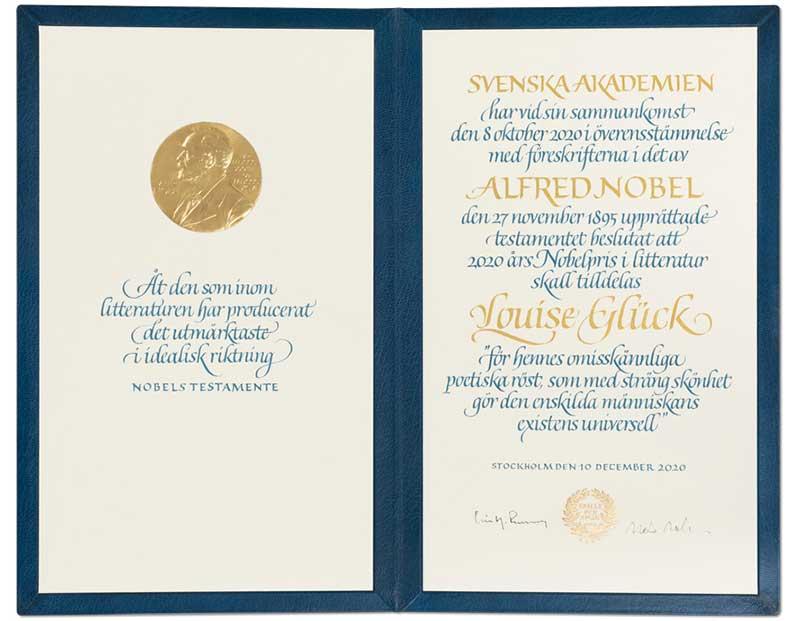 Louise Glück's Nobel Diploma