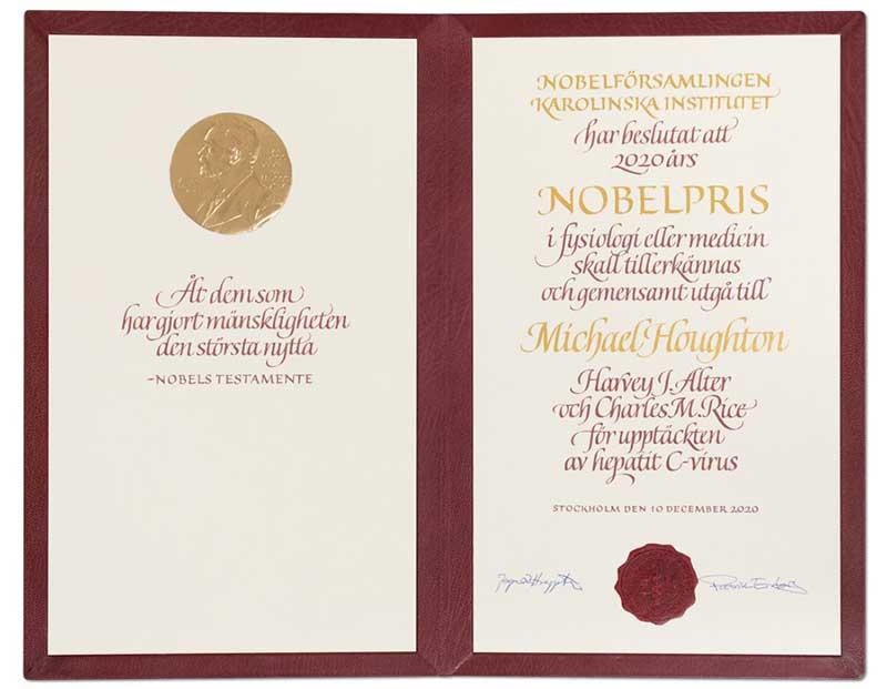 Michael Houghton's Nobel Diploma