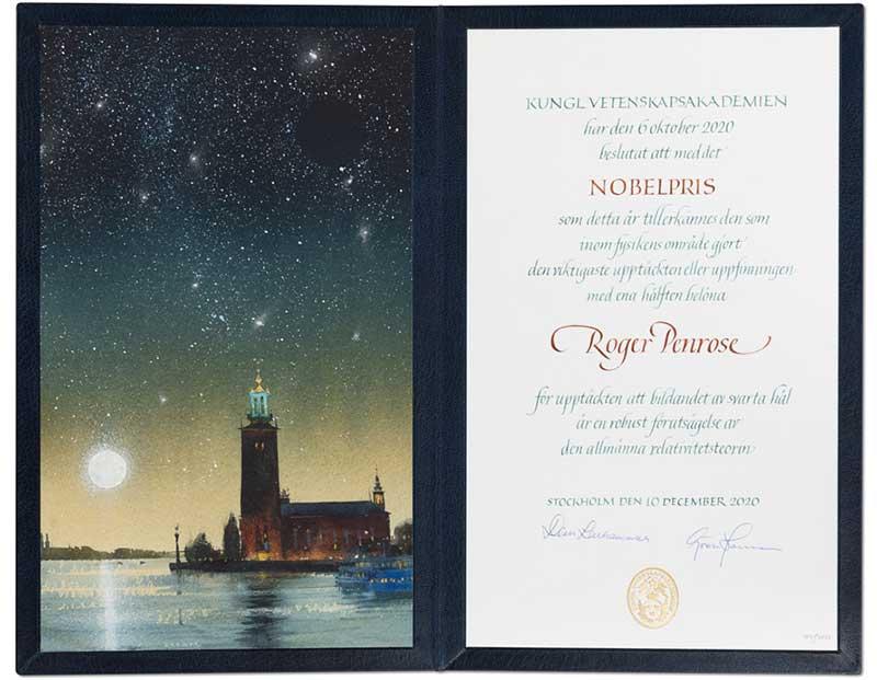 Roger Penrose Nobel Diploma