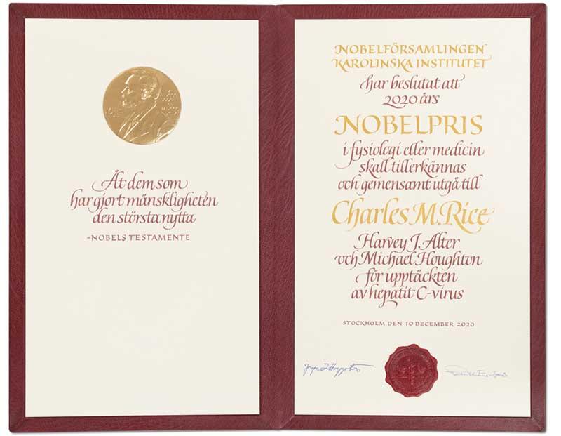 Charles M. Rice's Nobel Diploma